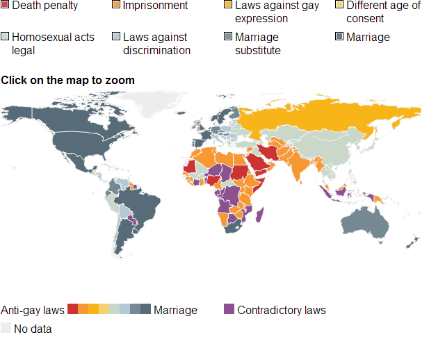 Legal status of homosexuality in the world