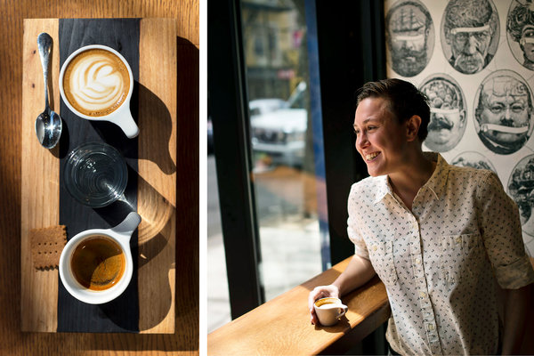 Cora Lambert, the owner of Box Kite on St. Mark's Place, and its 1 & 1, espresso and macchiato with a graham cracker.